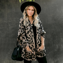 Fitshinling Pockets Leopard Winter Coat Long Cardigan Knitwear Boho Holiday Slim Knitted Cardigans Woman Clothing Sweaters 2020