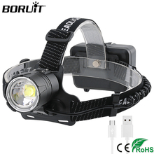 BORUiT 2032 XHP70.2 Zoomable Headlamp Super Bright LED Headlight 5000LM Head Torch 18650 Rechargeable Camping Hunting Flashlight scarlett sc ek18p36 white maroon электрический чайник