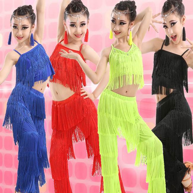 1 Set Girl Latin Dance Dresses Ballroom Fringe Tassel Dress Pants Kids Sequin Fringe Salsa Samba Stage Competition Dance Costume