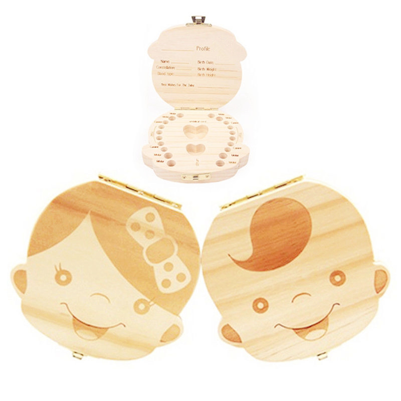 Baby Milk Teeth Box English Russion Spanish Portugal Wood Baby Tooth Box Organizer Kids Deciduous Storage Collect Wooden Box