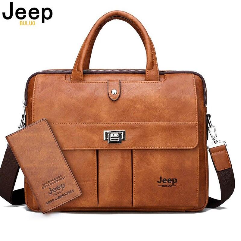 Maletín para hombre JEEP BULUO tamaño grande 15 pulgadas bolsas para ordenador portátil bolso de viaje de negocios bolso de negocios para hombre bolsa de mano para archivos A4