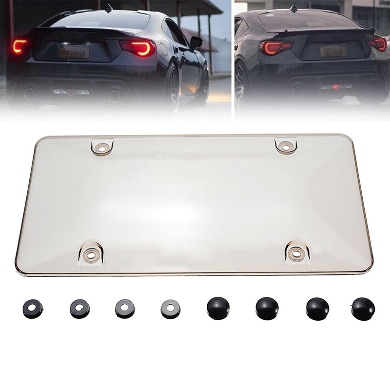 For Car License Plate Cover 12 Inch X 6 Inch Smoked Clear License Plate Cover Dustproof Shield Tinted Tag Protector Mayitr