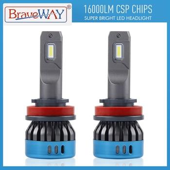 BraveWay Car LED Headlight Bulbs Auto Lights H1 H4 H8 H11 9005 HB3 9006 HB4 H7 LED Fog Lamps 16000LM 6500K 50W 12V 24V CSP Chips braveway h7 led h4 headlight bulbs for car h1 h11 hb3 hb4 9005 9006 light 1860 chips 12000lm 6500k 60w 12v auto fog lamp led kit