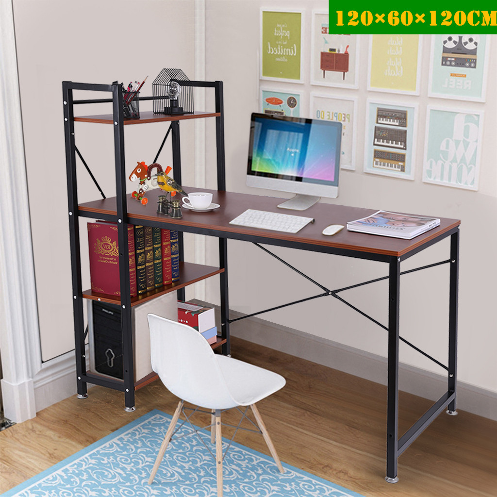 Computer Desk With Bookshelf 47-inch Home Office Desk Writing Study Table With 4 Tier Bookshelves Multipurpose PC Workstation