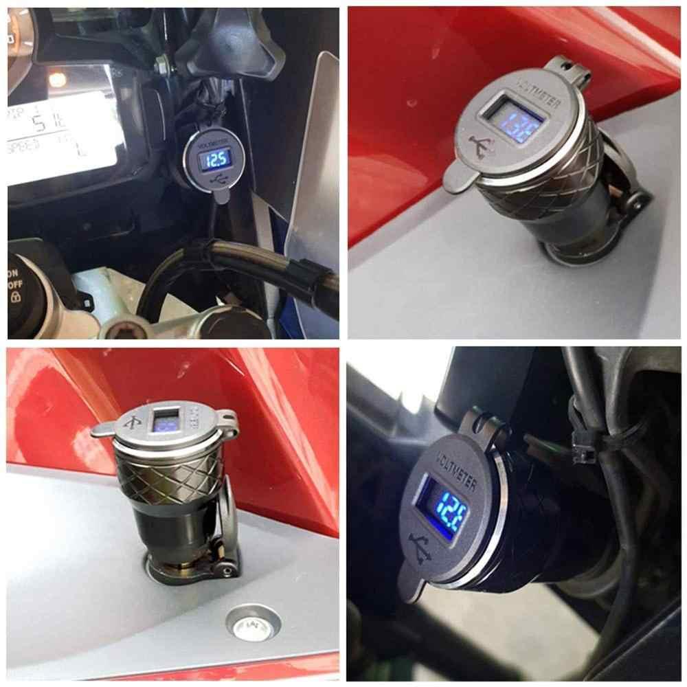 شاحن Aileap للدراجة النارية من سبيكة الألومنيوم طراز Hella Din للشحن السريع مزود بمنفذين USB مزدوج 3.0 مع مقياس فولطية للبطارية