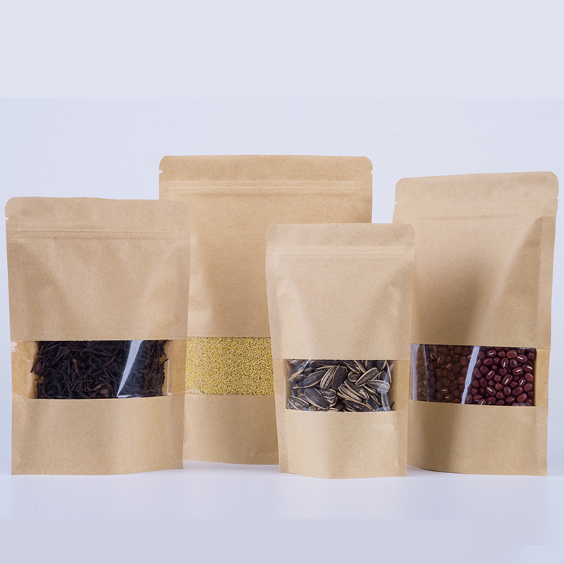 50-100pcs Kraft Paper Stand Up Pouch Zip Lock Bag Matte Window Food Dried Fruit