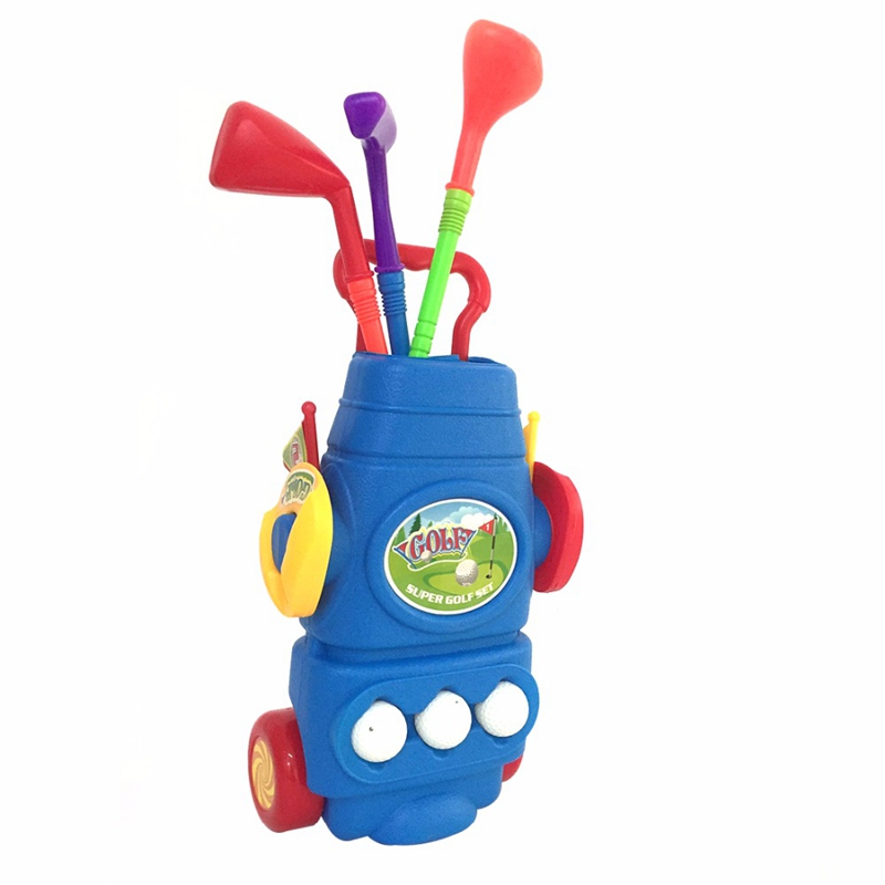 Children Golf Sports Toy Set Kids Golf Game Toy With 3 Clubs 2 Holes 3 Balls And 2 Flags