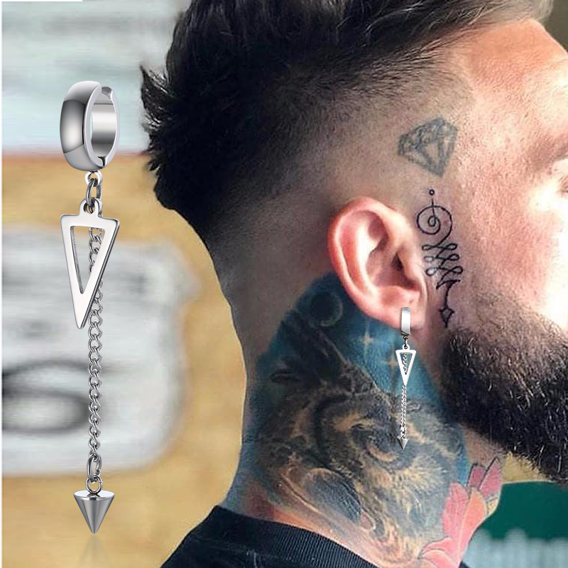 IRREGULAR TRIANGLE LONG CHAIN LINK EARRING FOR MEN ROCK THE COOLEST CONCH HOOP WITHOUT PIERCING UNISEX JEWELRY