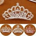 Детские Мини-короны для девочек со стразами блестящая корона с кристаллами в форме сердца аксессуары для вечерние Ринок гребни для волос ук...