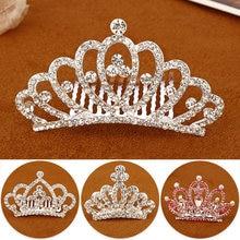 Crianças mini coroas meninas strass brilhando coroa de cristal coração princesa festa accessiories pentes cabelo jóias ornamentos
