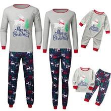 Рождественская Детская рубашка с длинными рукавами и круглым вырезом и принтом с героями мультфильмов повседневные штаны семейная одежда для родителей и детей, пижамы