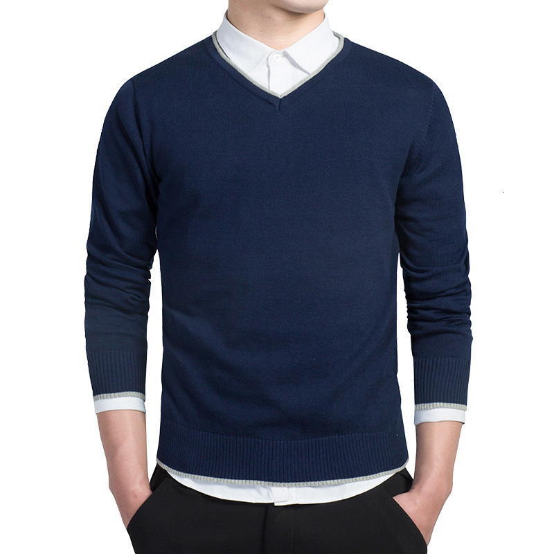 Solid Mens Sweater Long Sleeve Cotton Pullovers Men V-Neck Sweaters Tops Loose Fitness Knitting Sweaters Clothing Plus Size 3XL