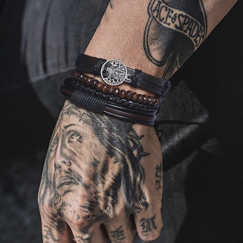 ASSORTED STYLE CHARM MEN BROWN BRAIDED LEATHER MULTILAYER ROPE WRAP BANGLES <font><b>BRACELET</b></font> <font><b>SET</b></font> ADJUSTABLE <font><b>UNISEX</b></font> JEWELRY image