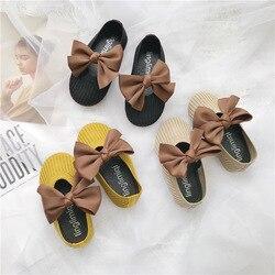 2019 nova primavera outono voar tecido sapatos bowknot sapatos princesa menina das crianças Respirável conforto avó do bebê sapatos fundo macio