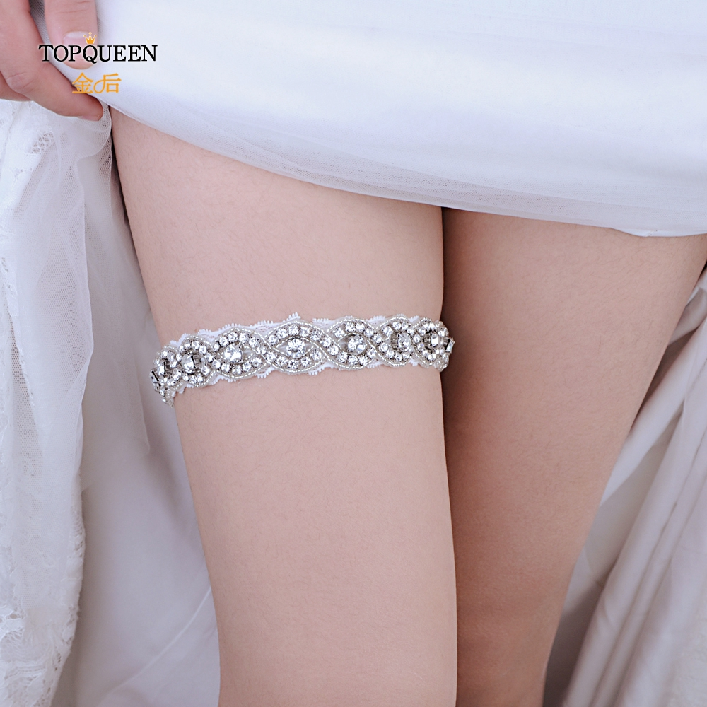 TOPQUEEN Sexy Lady Lingerie Garter Stocking Lace Garter Belt Legs Ring Harness Women  Belt Wedding Garter Bridal Girl THS28