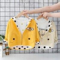 2019 Autumn Girls cartoon animal embroidery Hooded Dot wings Coat Kids Children Infants Outwear Jackets Cardigan C2985