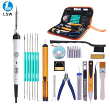 PJLSW Soldering Iron 26 in 1 Soldering Iron Kits 60w Adjustable Temperature with ON/OFF Switch 6 Soldering Iron Tips,Stand,Desol цена