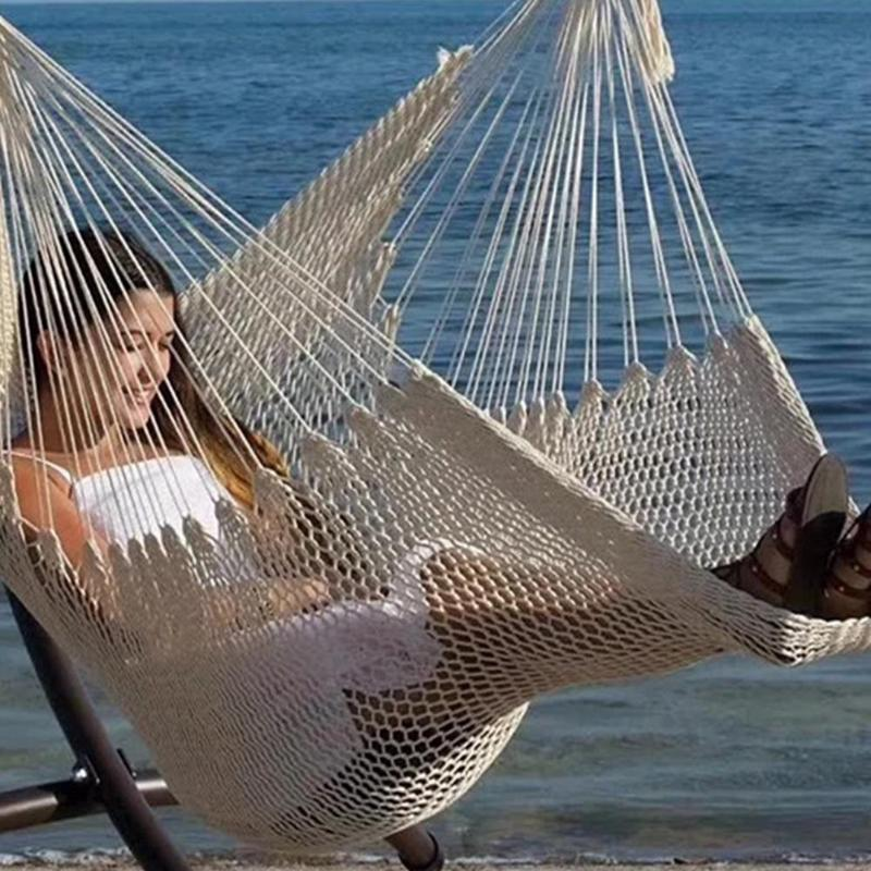 Large Cotton Rope Hammock Chair Portable Hanging Chair Indoor Outdoor Hammock Lazy Hanging Swing Bed Chair Romantic
