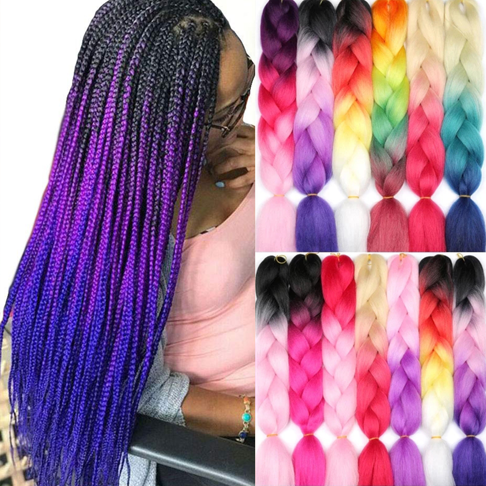 Kong&Li 100G 120 Colors Synthetic Braiding Hair Extensions Ombre Jumbo Braid Pre Stretched Wholesale 24 Inch Box Twist Braids