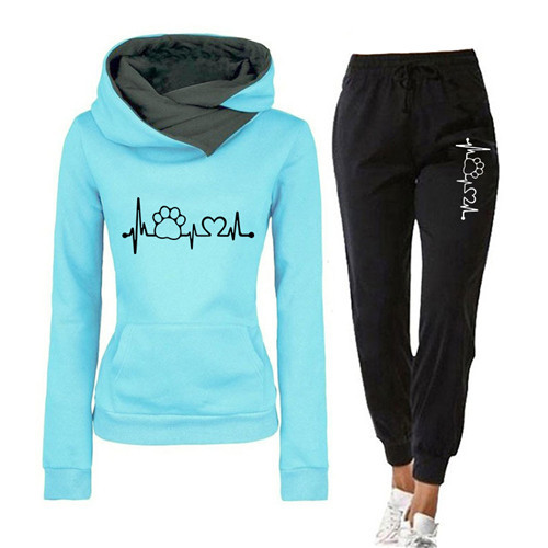 Women Tracksuit Pullovers Hoodies and Black Pants Autumn Winter Suit Female Solid Color Casual Full Length Trousers Outfits 2021 14