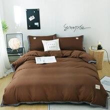 Microfiber Winter Verdikking beddengoed set bruin bed set 4 stuks dekbedovertrek + laken + kussensloop beddengoed