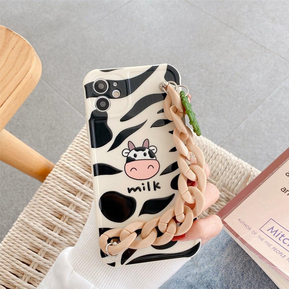 Cute Black White Milk Cows Bracelet Phone Cases For Iphone 12 Mini 11 Pro Max X XS XR 7 8 Plus Chain Soft Back Cover