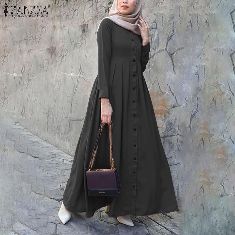 2021 Autumn Long Sleeve Buttons Down Sundress Women Muslim Dubai Abaya Turkey Hijab Dress Islam Clothing