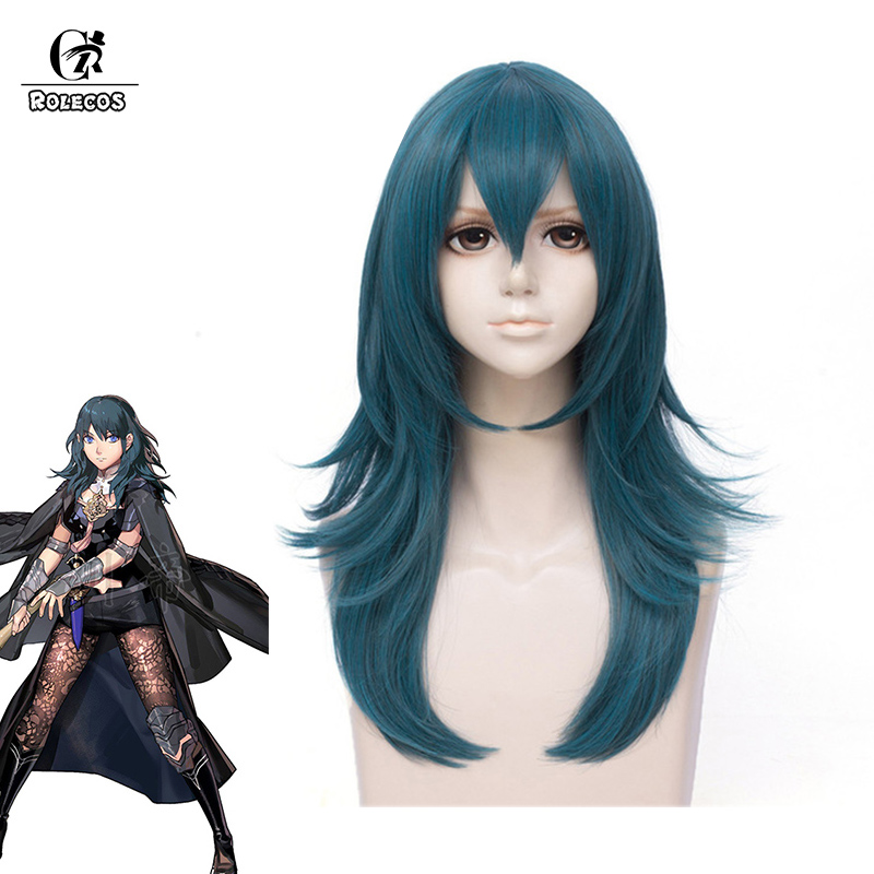 ROLECOS Game Fire Emblem Byleth Cosplay Wig Three Houses Byleth Cosplay Women Wig 60cm Long Blue Synthetic Hair Headwear image