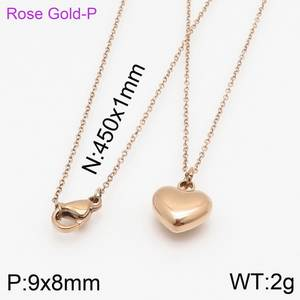 24.64C --- Stainless Steel Rose Gold Chain Lovely Love Heart Jewelry Necklace Pendant ,Fahion, modern wholesale