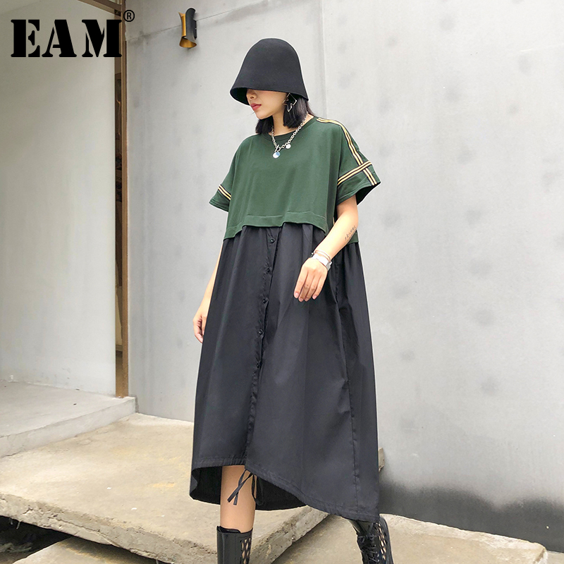 [EAM] Women Green Contrast Color Big Size Dress New Round Neck Short  Sleeve Loose Fit Fashion Tide Spring Summer 2020 1T781