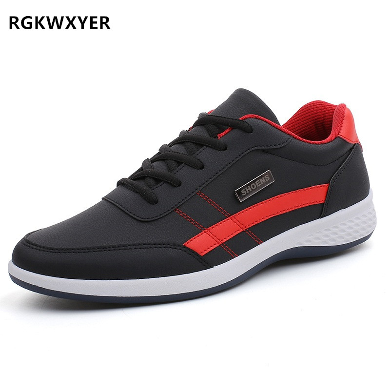 RGKWXYER New Fashion Men Sneakers for Casual Shoes Breathable Lace up Mens Leather chaussure homme