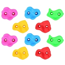 10Pcs Mixed Color Plastic Children Kids Rock Climbing Wood Wall Stones Hand Feet Holds Grip Kits for Outdoor and Indoor