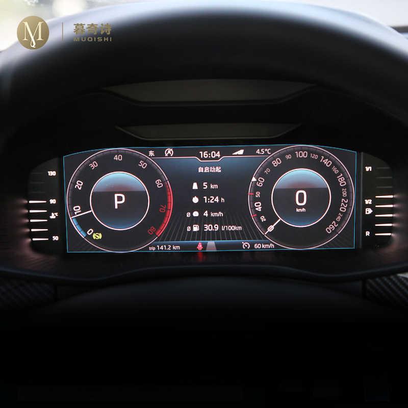 Untuk Skoda Kodiaq 2019 2020 interior panel Instrumen membran LCD screen Tempered film pelindung kaca Anti gores