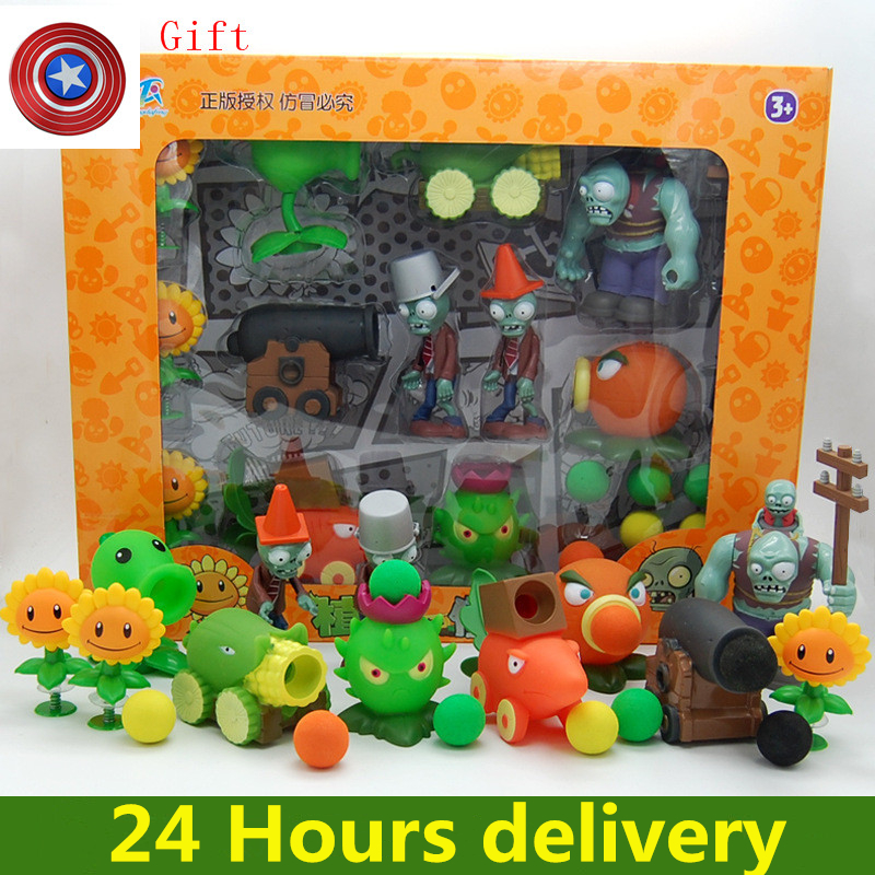 Large Genuine Plants Vs. Zombie Toys 2 Complete Set Of Boys Soft Silicone Anime FigureChildren's Dolls With Gyro Gift
