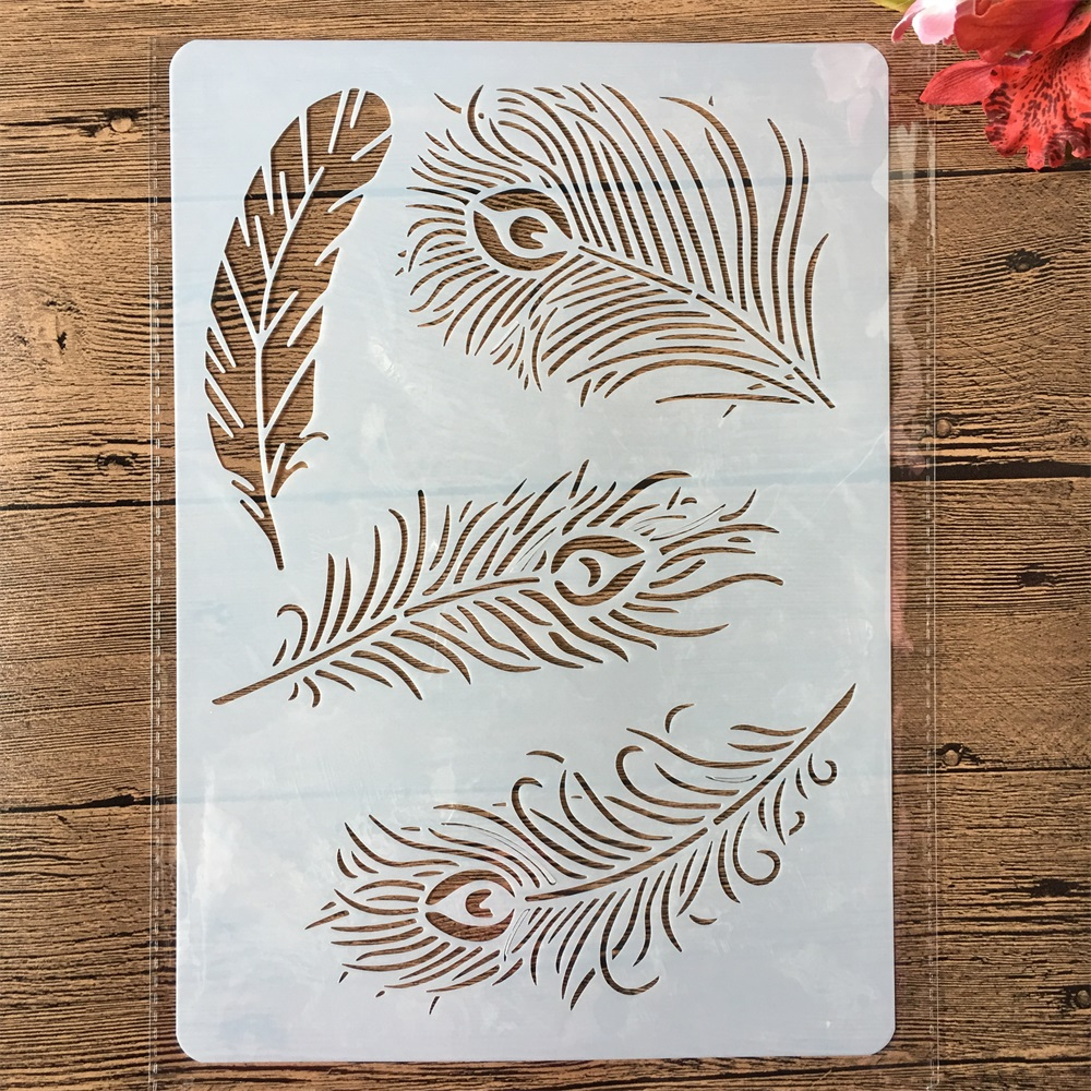 A4 Peacock Feather DIY Craft Layering Stencils Painting Scrapbooking Stamping Embossing Album Paper Card Template