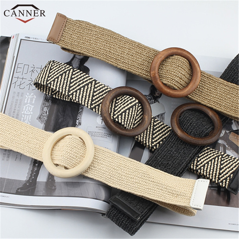 Casual Female Braided Wide Strap Round Plastic Buckle Woven   Belt   for Women Girls Elastic PP Straw   Belts   Lady Waistband H40