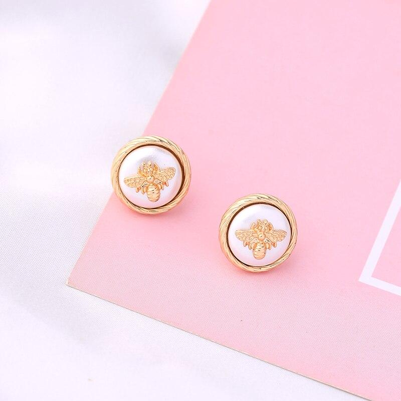 Insetos requintados brincos de ouro cor alergia livre redondo clássico brincos para mulheres moda jóias nova chegada