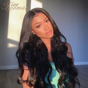 Pelucas sintéticas FREEWOMAN para mujeres peluca con malla frontal aspecto Natural largo ondulado Peluca de separación del lado medio resistente al calor negro completo