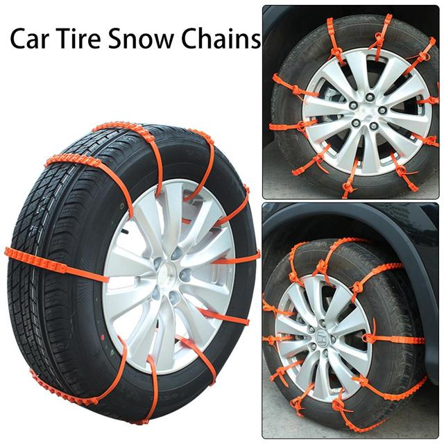 10PCS Universal Anti-Slip Snow Chains for Car SUVs Emergency Winter Roadway Safety Tyres Wheels Snow Chains Durable Car-Styling