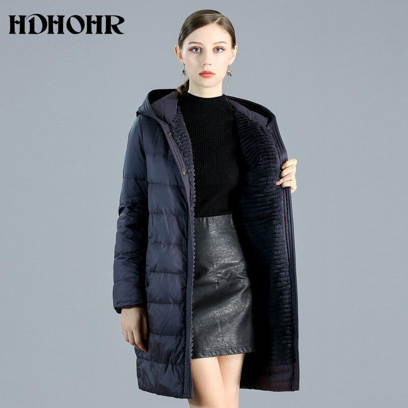 HDHOHR 2019 высококачественное пальто из натурального меха для женщин, пальто из натурального меха кролика с 100% хорошим пухом, Двусторонняя одеж...