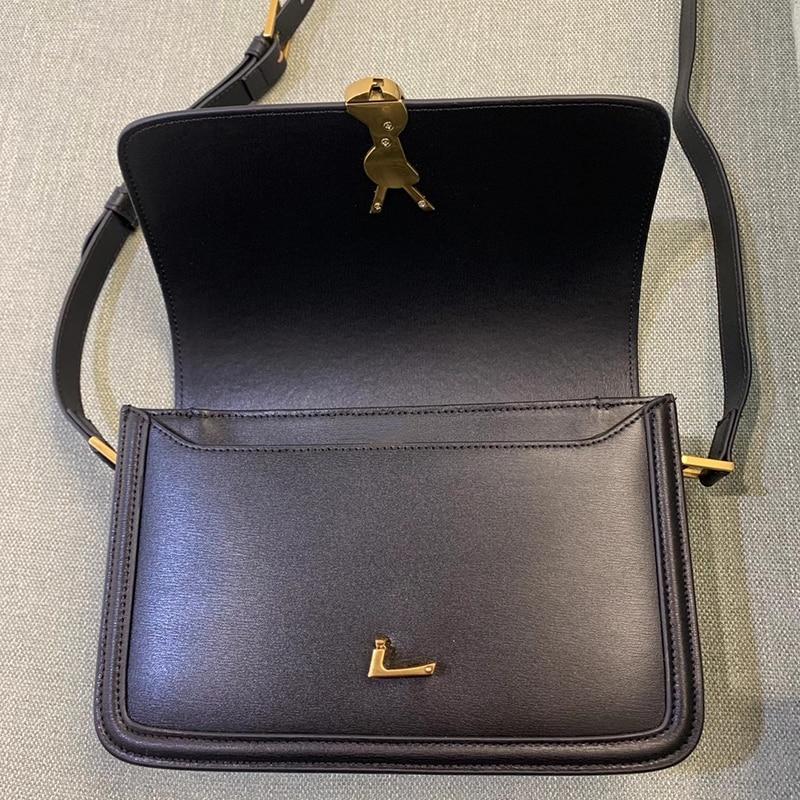 Solferino cowhide small square bag 2020 new fashion one shoulder cross over women's bag Commuter Bag retro bag