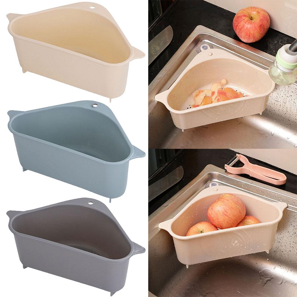 Kitchen Sink Storage Basket Vegetable Fruit Triangle Drainer Basket Storage Tool Sink Filter Shelf Suction Cup Sponge Rack