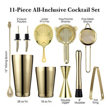 Cocktail Shaker Bar Set: Gewogen Boston Shakers, Cocktail Zeef Set, Jigger, Muddler, ananas Bar lepel, Ijs Tong, Pourers(China)