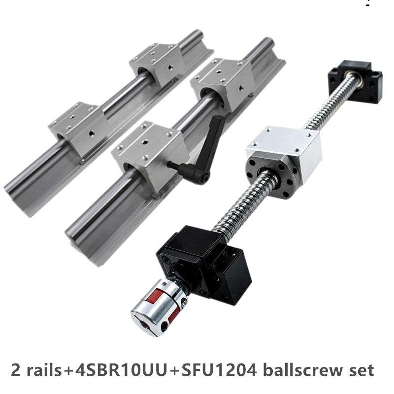 Vis linéaire sbr10 SBR10UU | 150-1150mm, rail linéaire + vis à billes SFU1204 + 1204 écrou + bloc DSG12H + roulement à bout BKBF10 + raccord, 2 pièces