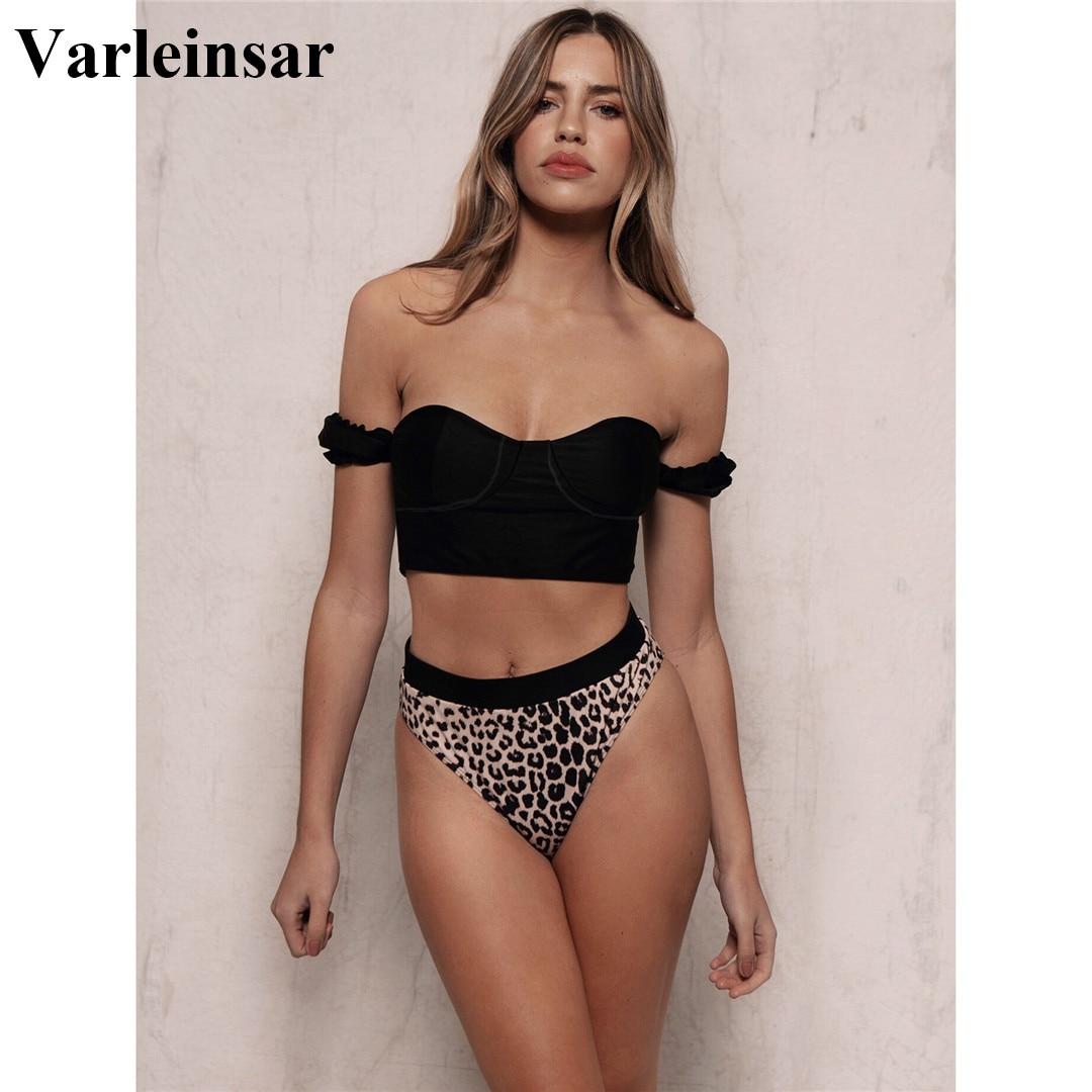 2020 Sexy Black Off Shoulder Bra Swimsuit High Waist Bikini Women Swimwear Two-pieces Bikini set Bather Bathing Suit Swim V1847