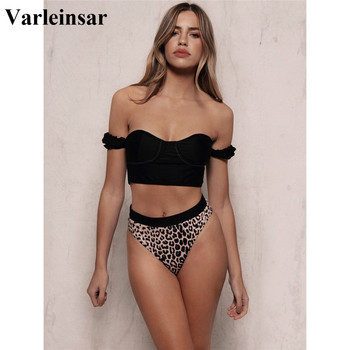 2020 Sexy Black Off Shoulder Bra Swimsuit High Waist Bikini Women Swimwear Two-pieces Bikini set Bather Bathing Suit Swim V1847