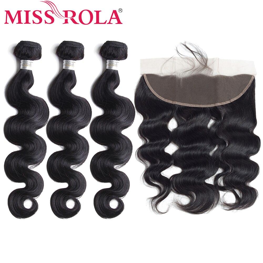 Miss Rola волосы, предварительно окрашенные малазийские объемные волны, 3 пучка с 13*4 закрытыми волосами, 100% человеческие волосы для наращивания,...