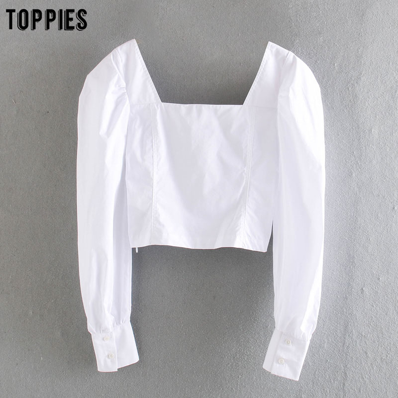 Toppies White Cotton Short Shirts Vintage Long Sleeve Tops Women Summer Blouses Sexy Square Collar Sandy Beach Clothes