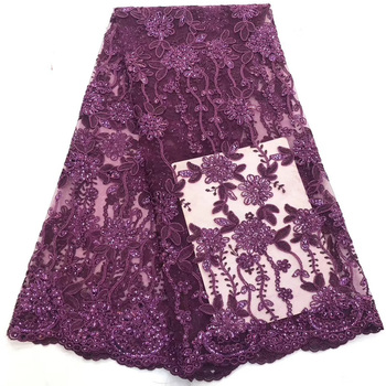(5yards/pc) High quality eggplant purple African tulle lace French net lace fabric with embroidery and sequins for dress FZZ706
