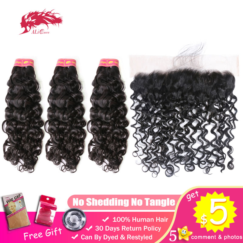Ali Queen 3 Bundles With 13x4 Swiss Lace Frontal Closure Brazilian Water Wave Unprocessed Virgin 100% One-Donor Human Hair